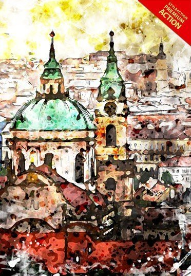 architecture-watercolors-photoshop-action