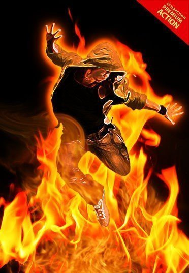 real-fire-photoshop-action